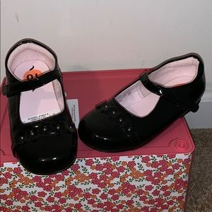 Girl's Black Patent Look NINA Dress Shoes Size 10